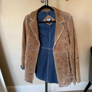 NWOT Ashley Tan Suede And Denim Jacket Size S